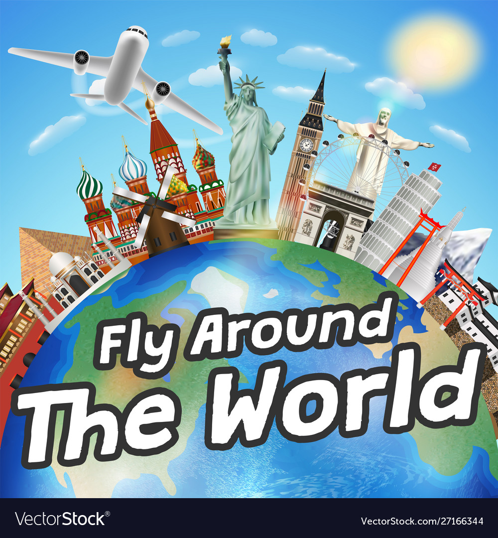 Airplane fly around world with world landmark