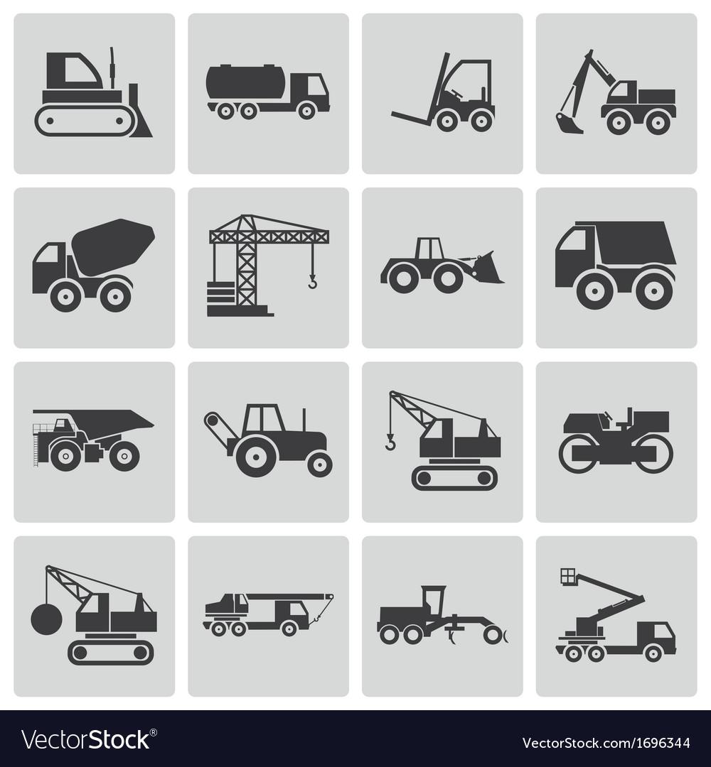 Black construction transport icons set
