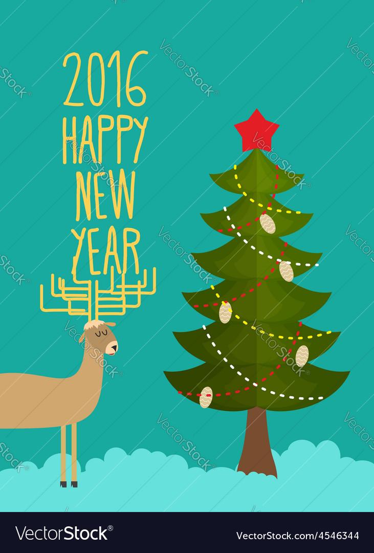 Christmas tree and deer Holiday card for Christmas