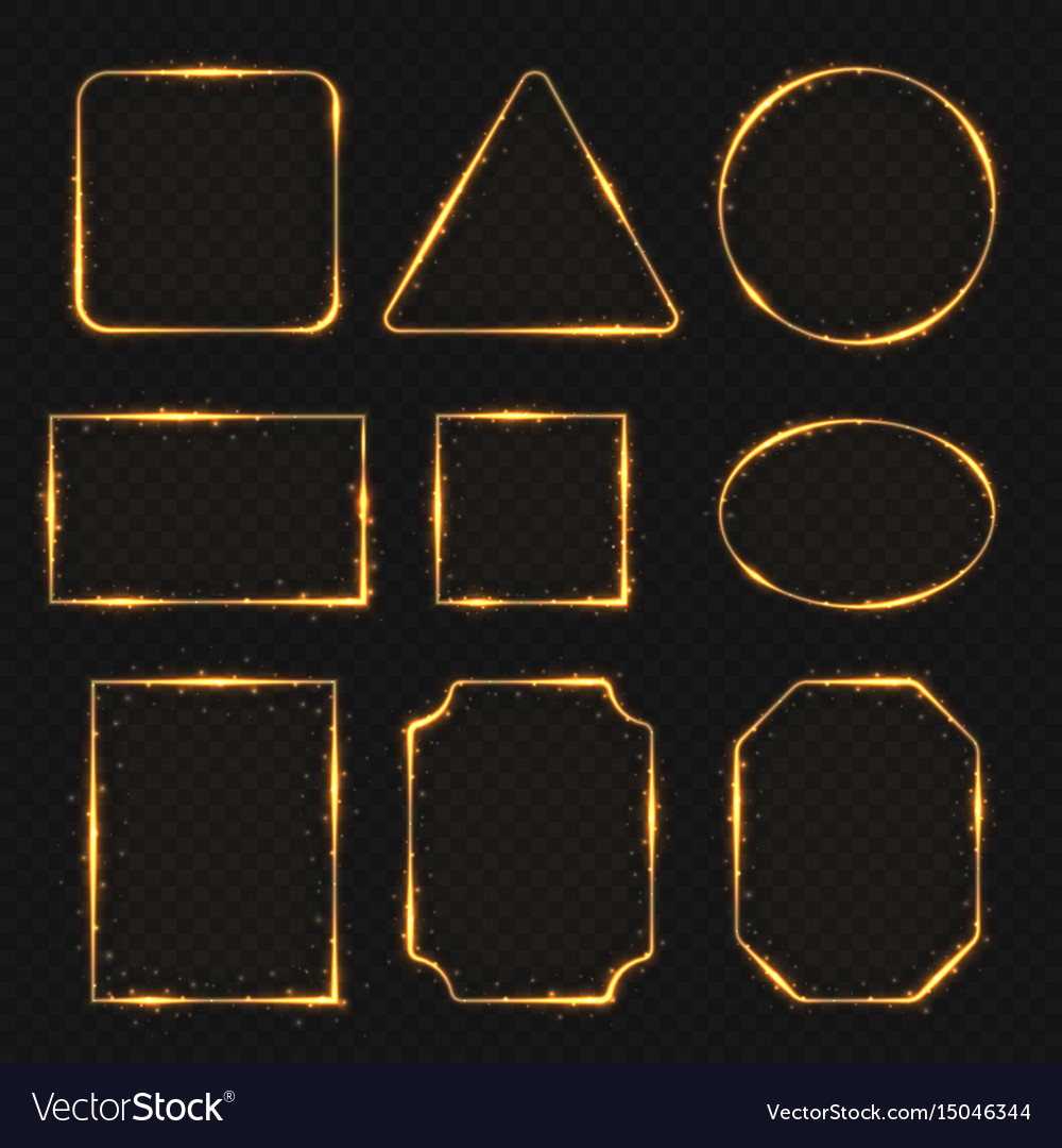 Golden neon shiny electric rectangle borders vector image