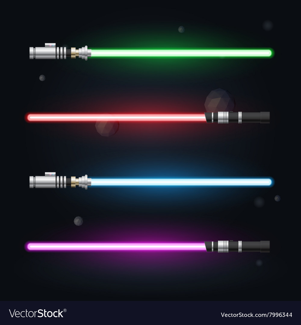 Set light swords futuristic from star war shiny