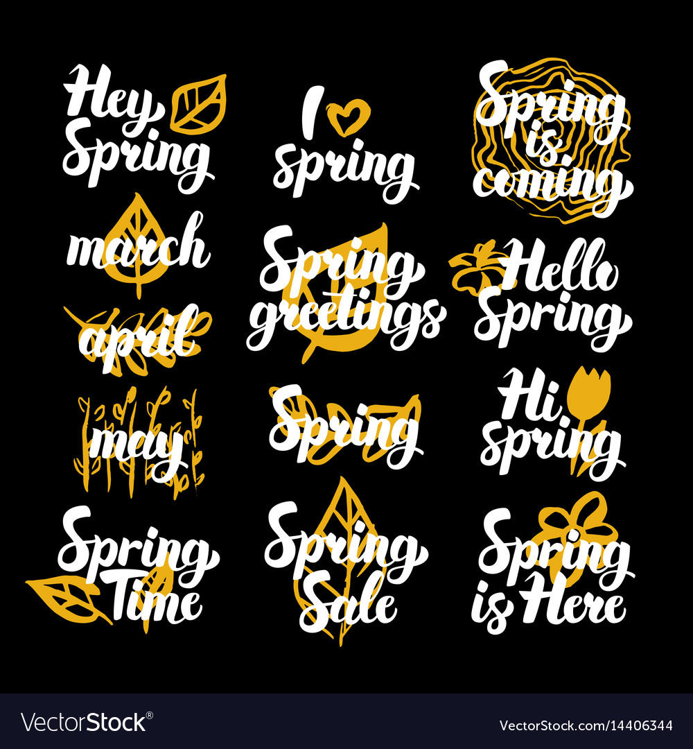 Spring Time Hand Drawn Quotes Royalty Free Vector Image