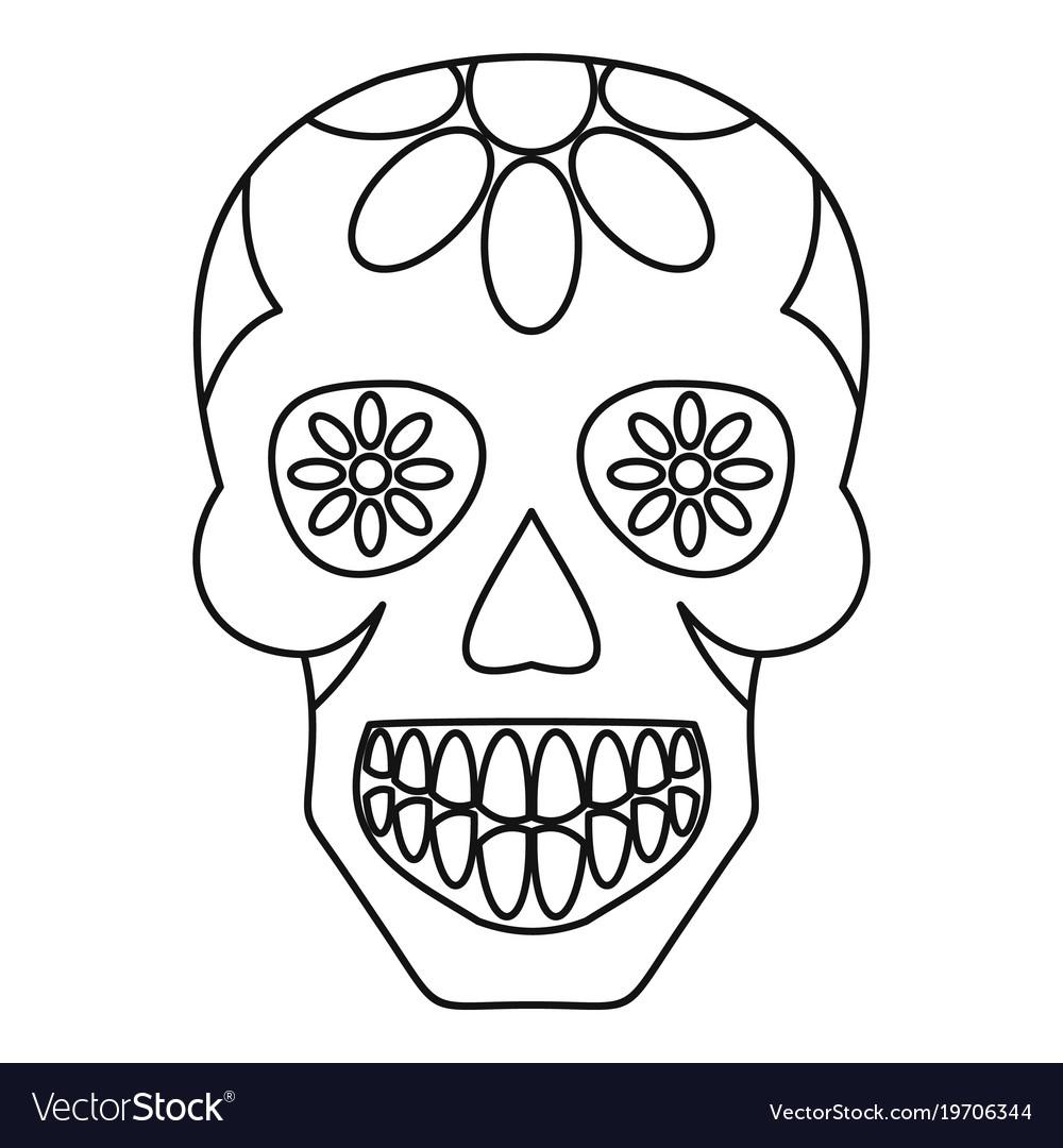 sugar skull flowers on the skull icon outline vector image
