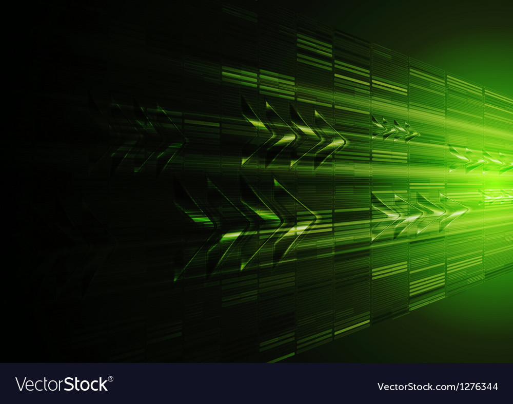 Tech green motion design with arrows vector image