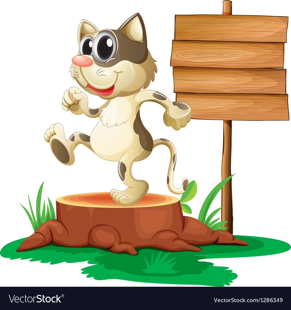 A cat above a trunk near an empty board vector image