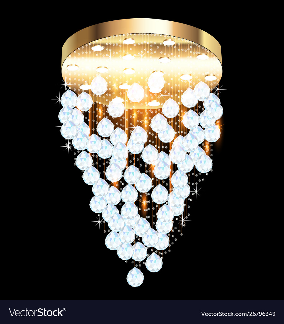 A modern chandelier with crystal pendants on the
