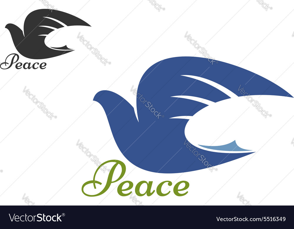 Dove blue silhouette as a symbol of peace