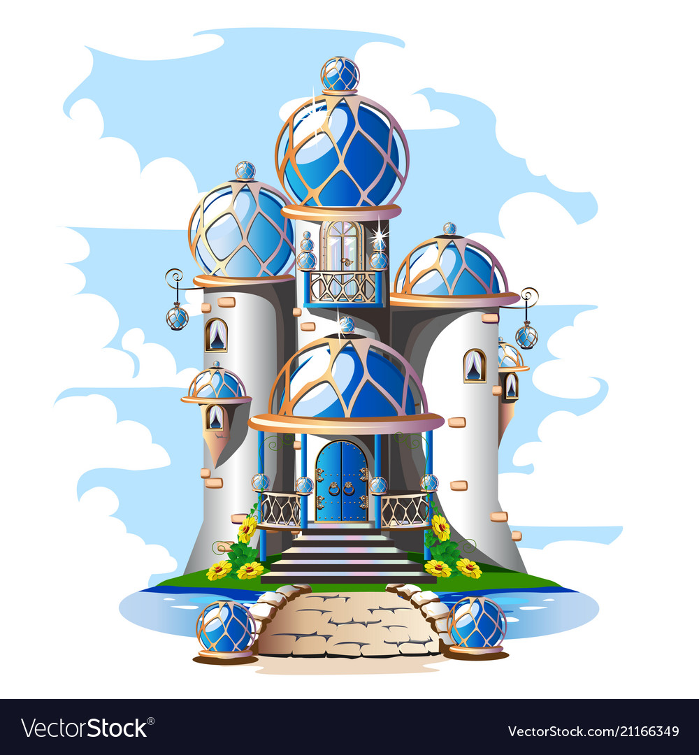 Fairytale castle with a blue domed roof a balcony