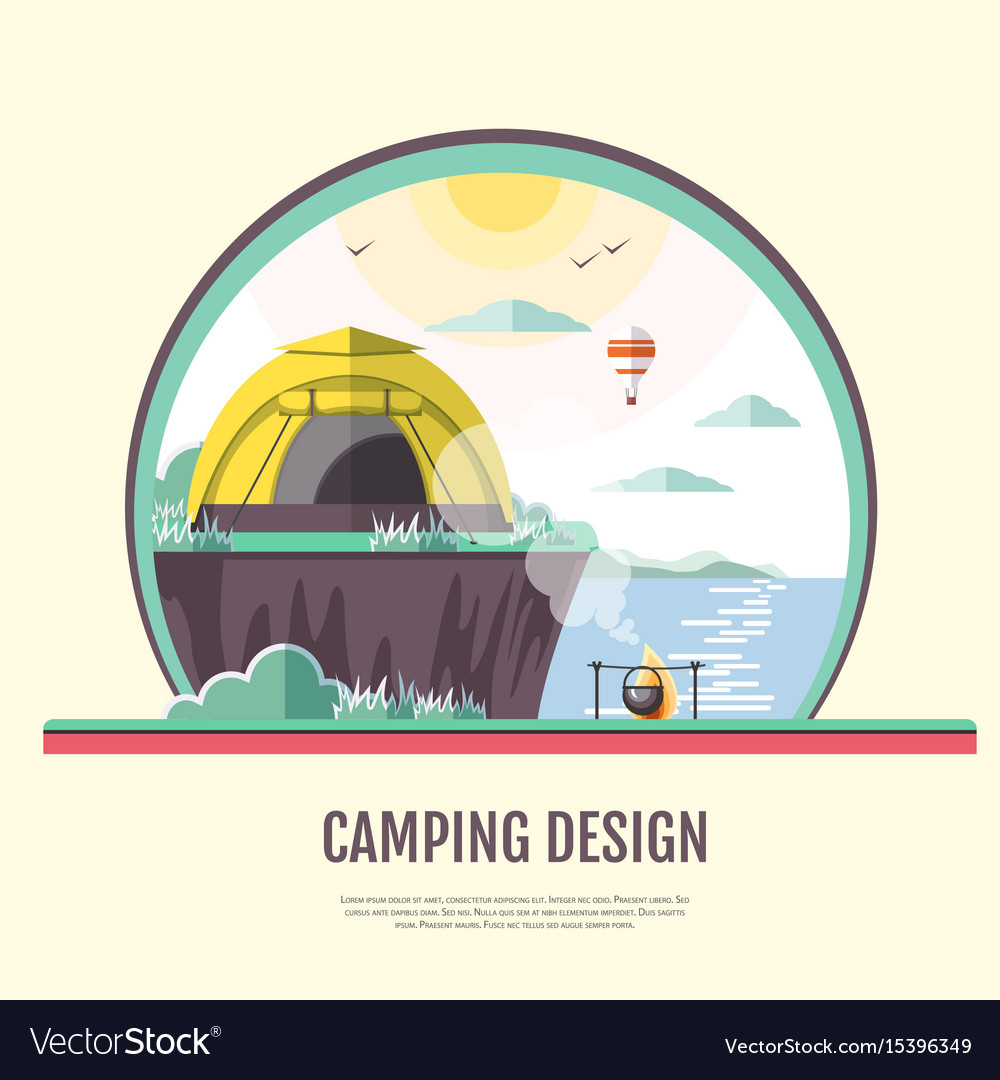Flat design of retro seaside landscape and camping