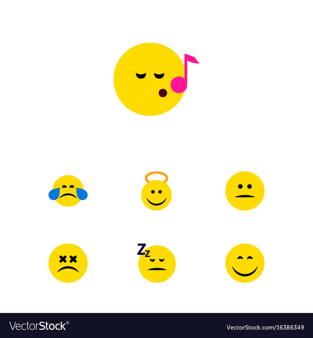 Flat icon face set of descant smile cold sweat