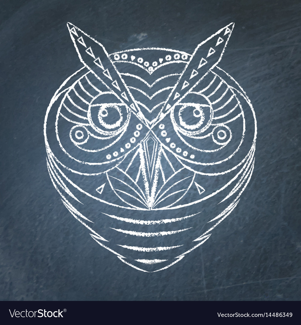 Geometric owl on chalkboard