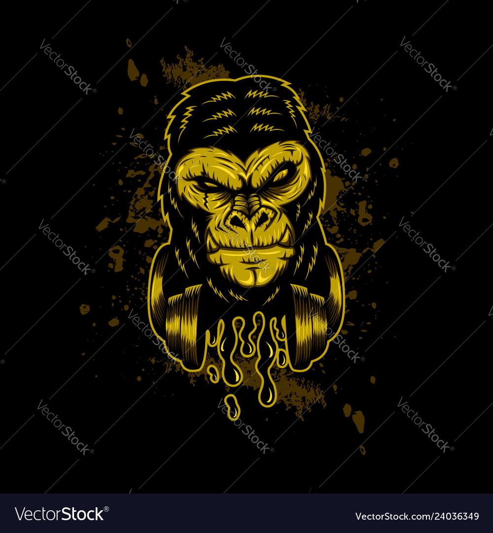 Gorilla headphone gold