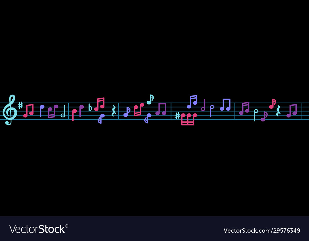 Musical notes on a line with a treble clef