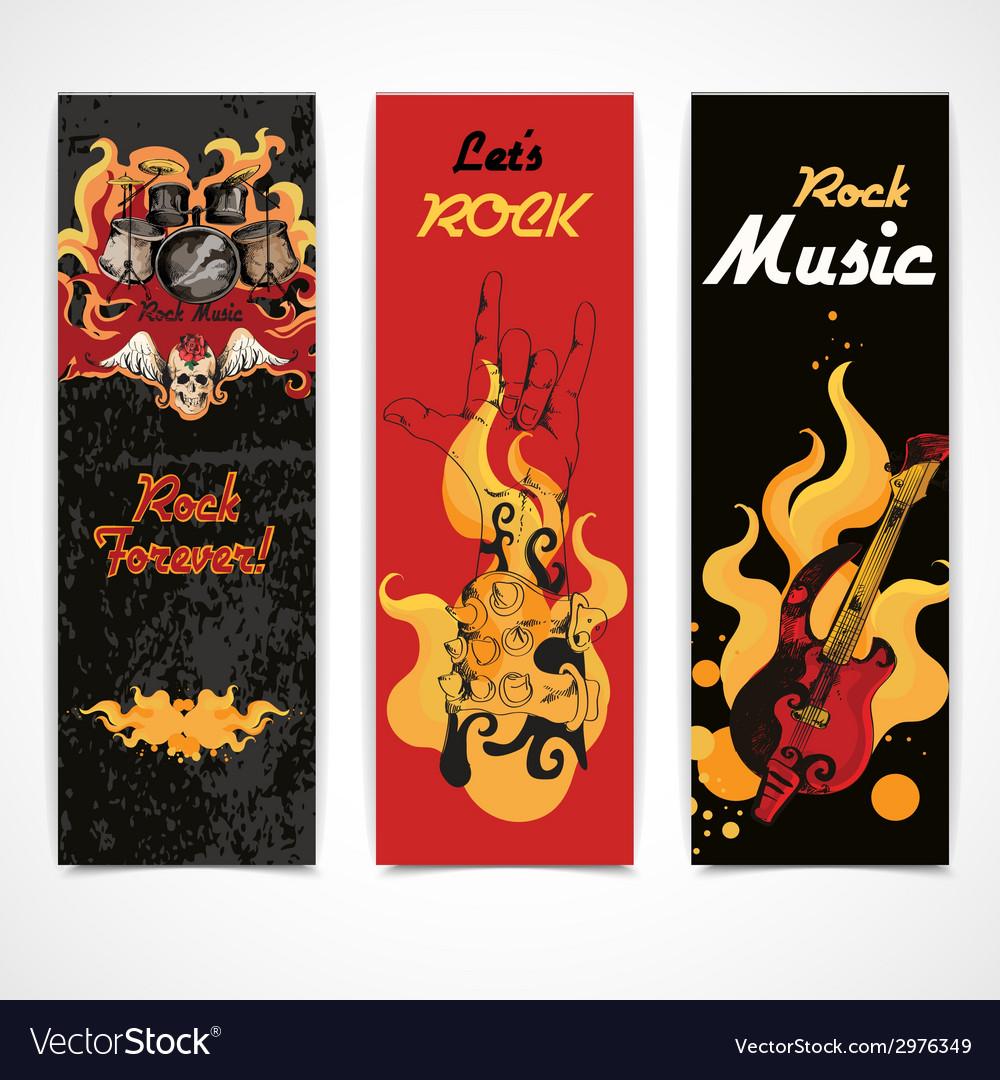 Rock music banners set