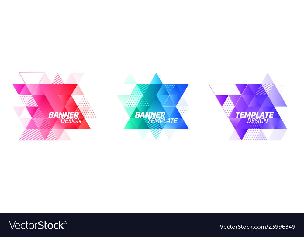 Set modern abstract banners isolated