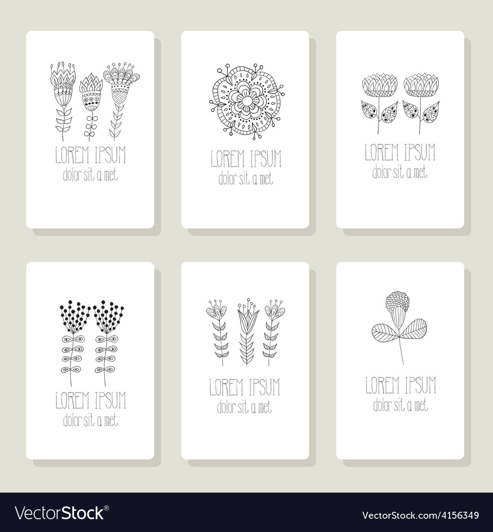 Set of cards invitation with hand drawn floral