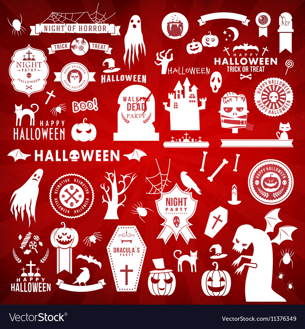 Set of Happy Halloween white silhouettes on red