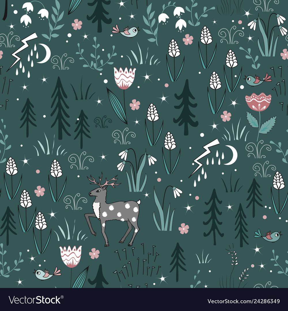 Spring forest seamless pattern with deer birds