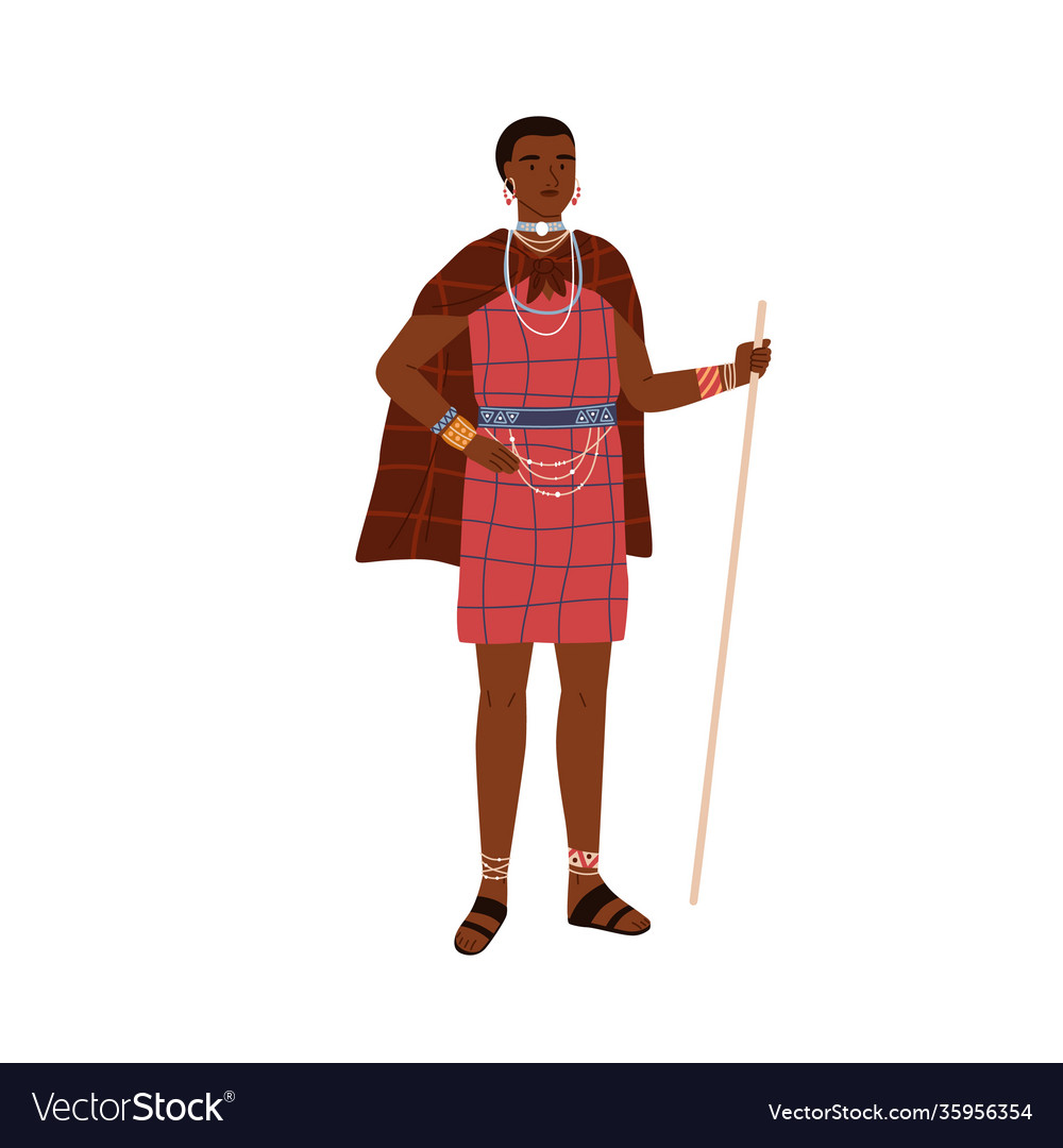 African woman aboriginal tribe holding stick