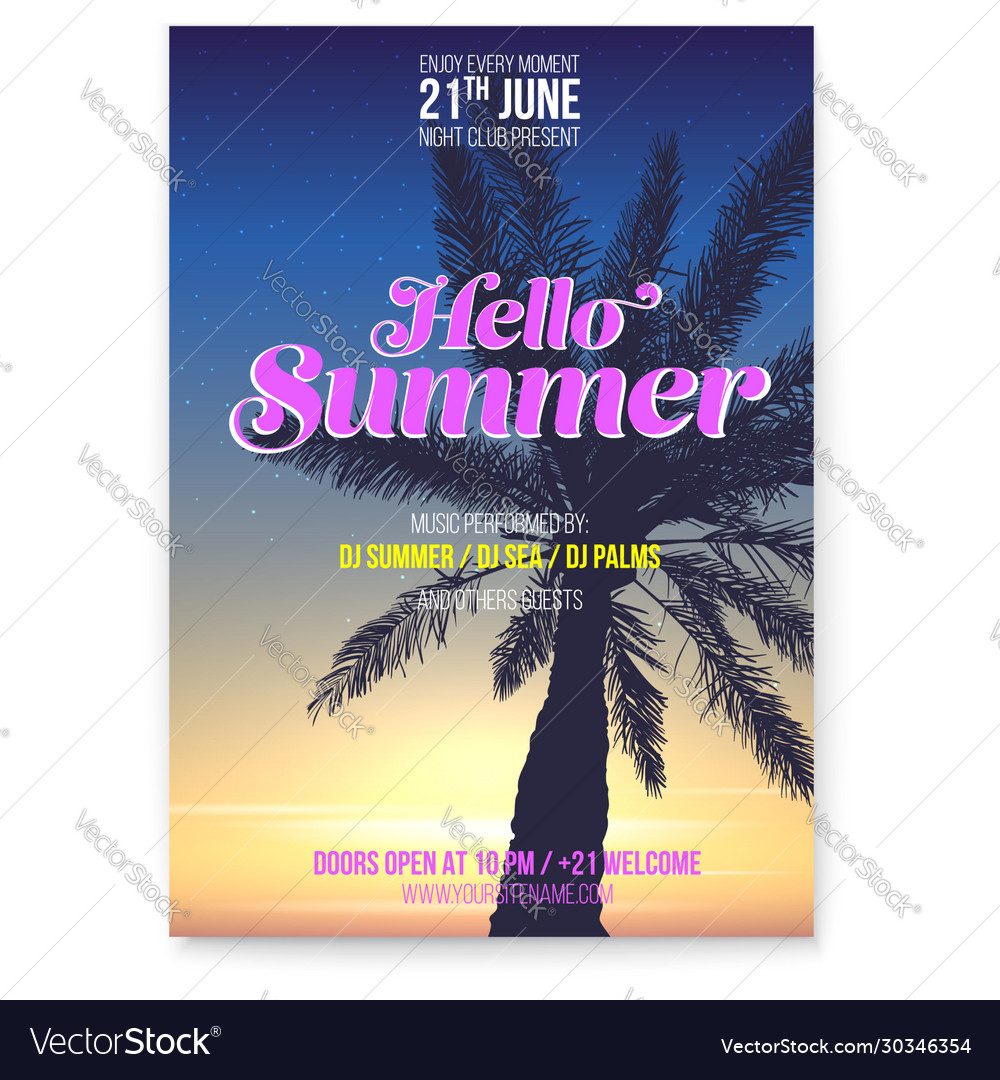 Beach party flyer hello summer holidays events