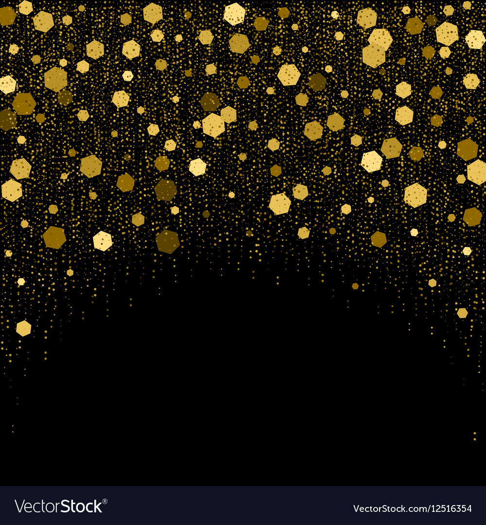 Black background with golden glitter particles Vector Image