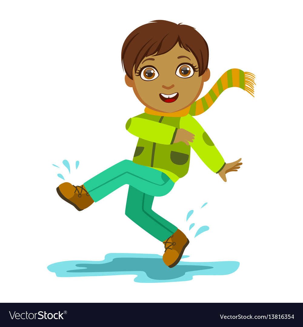 boy kicking water with foot kid in autumn clothes vector image