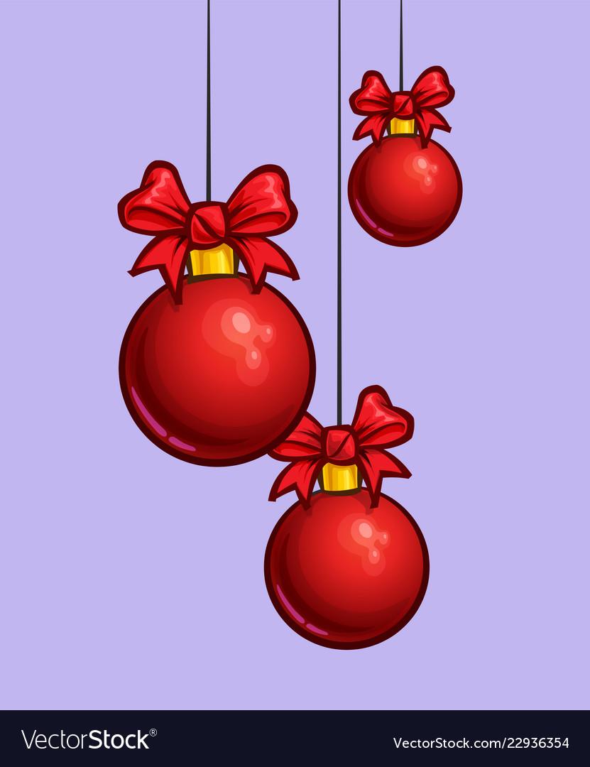 Christmas Cartoon Icon Three Red Hanging Balls