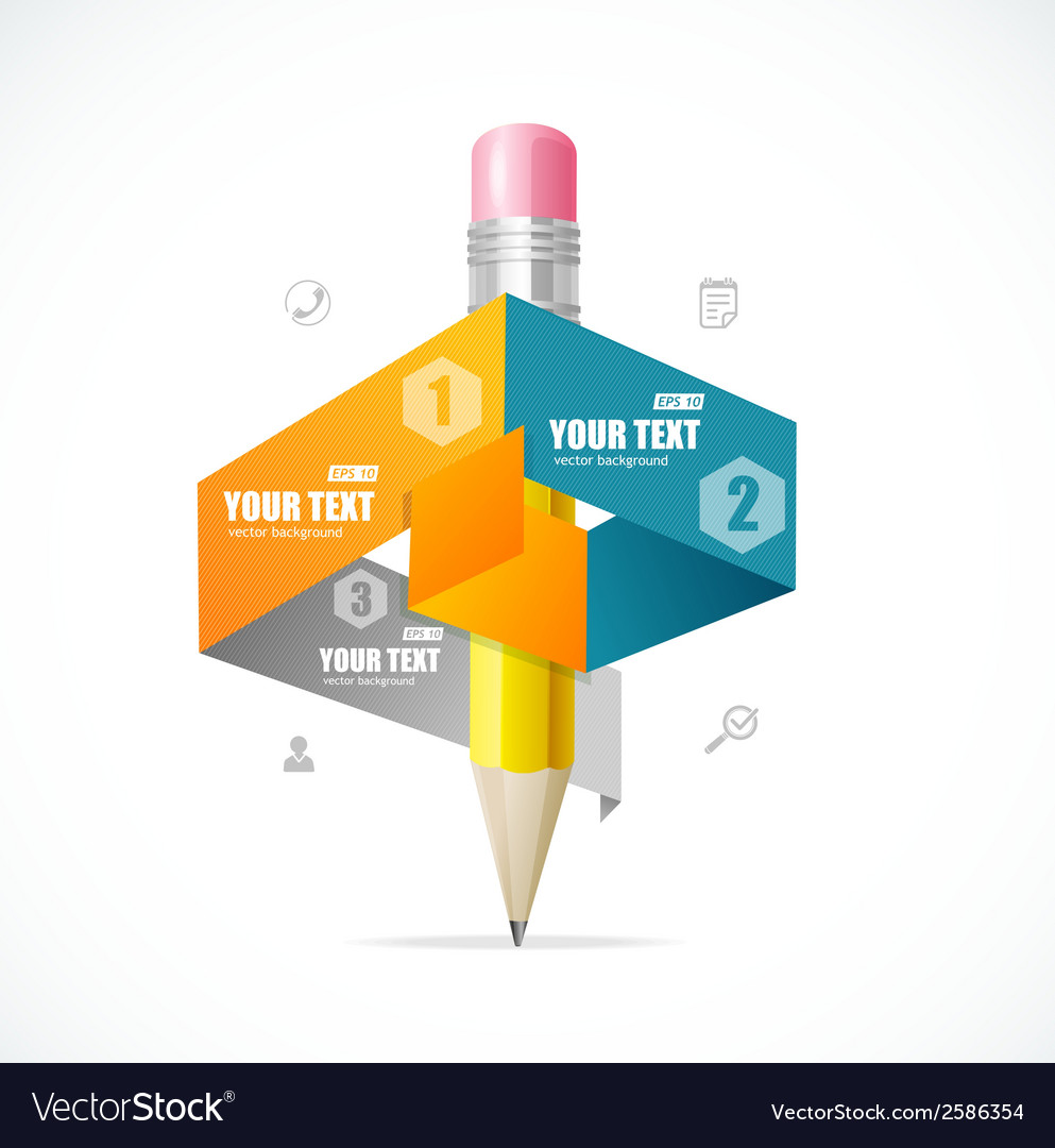 Creative paper and pencil infographics options