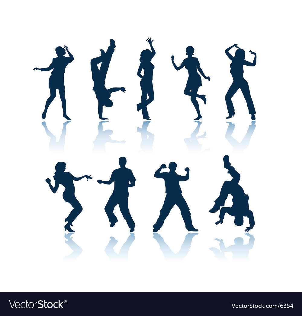 silhouettes of people dancing. Dancing People Silhouettes