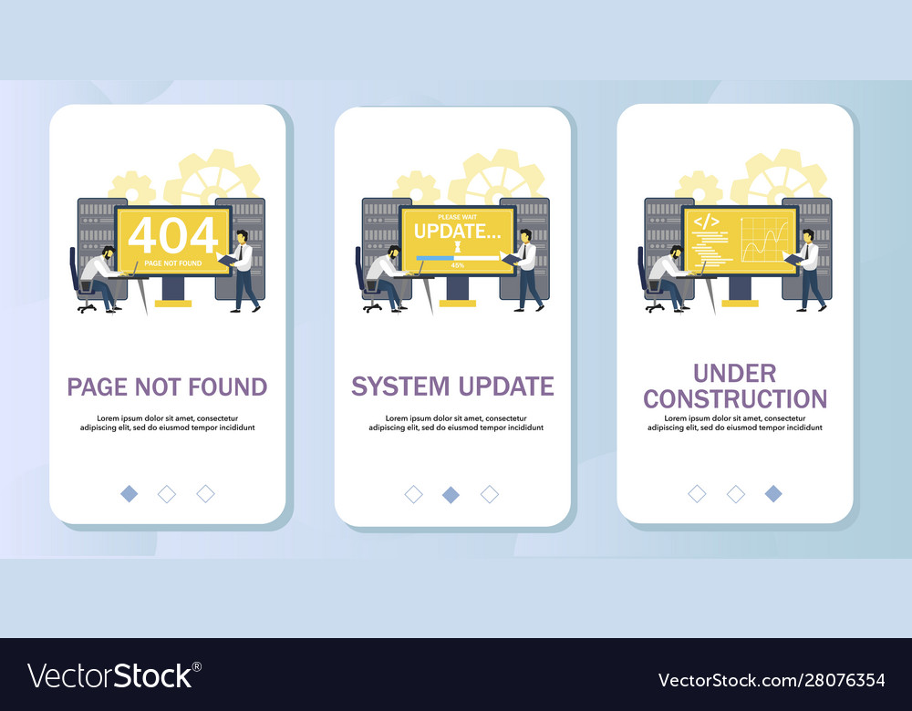 Error pages mobile app onboarding screens