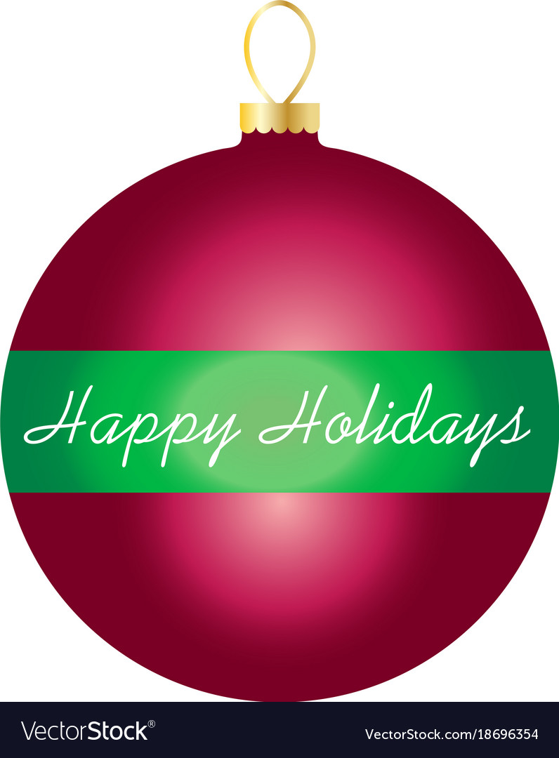 Happy holidays on striped ornament