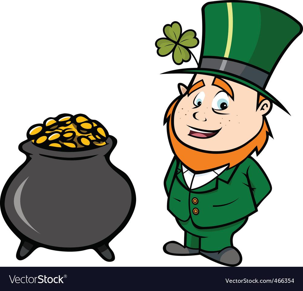 leprechaun pot of gold royalty free vector image