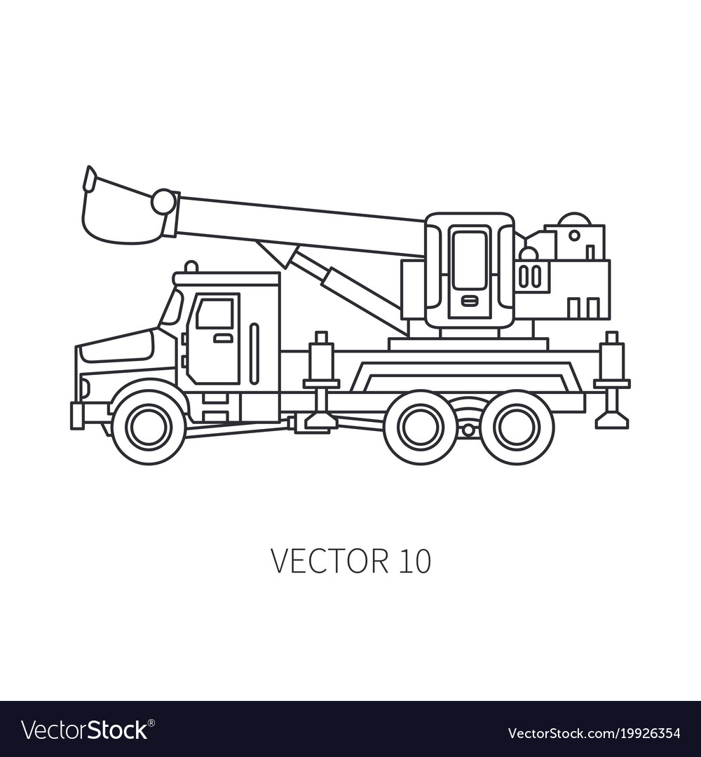 Line flat icon construction machinery truck