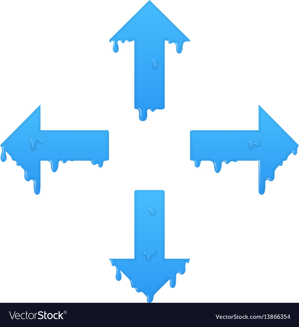 Melting navigation arrows set left right up and vector image