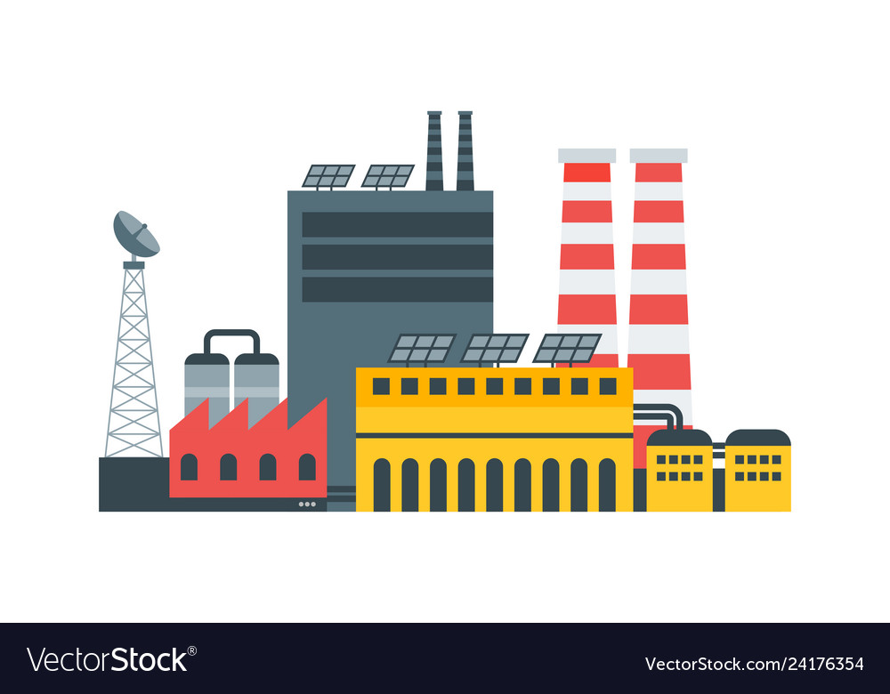 Modern ecological factory with solar panels