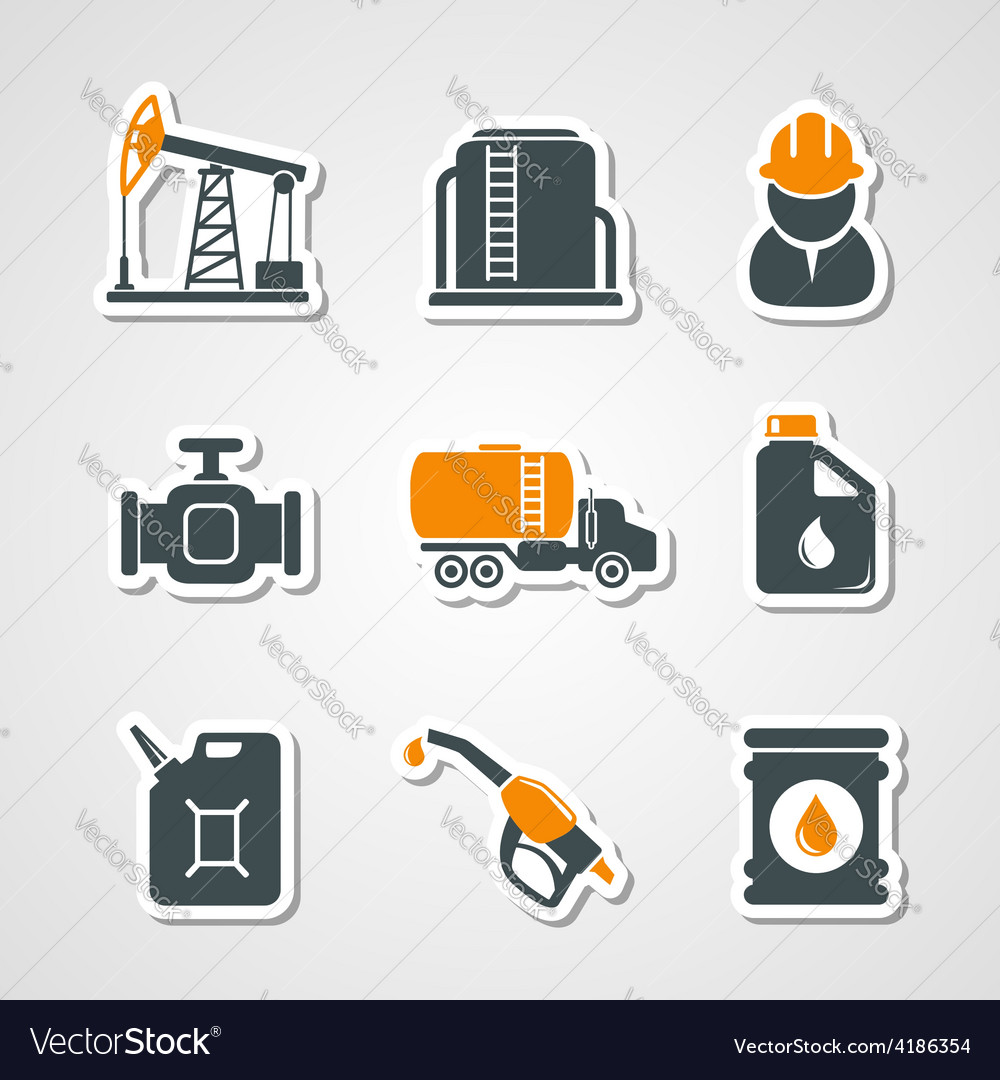 Oil and gas industry icons set vector image