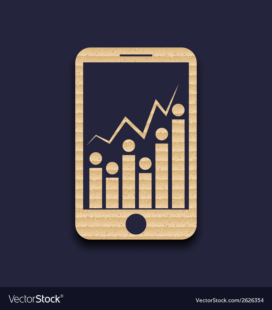 Paper mobile phone with abstract infographic chart