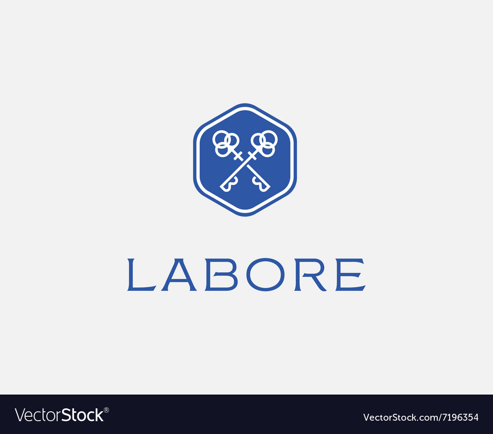 Real estate logotype Keys hexagon logo icon
