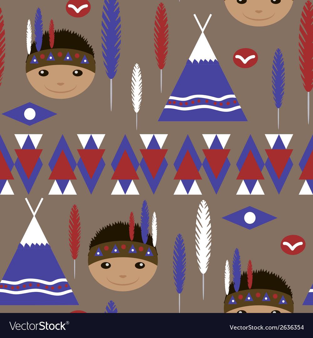Seamless kids cute American indian pattern