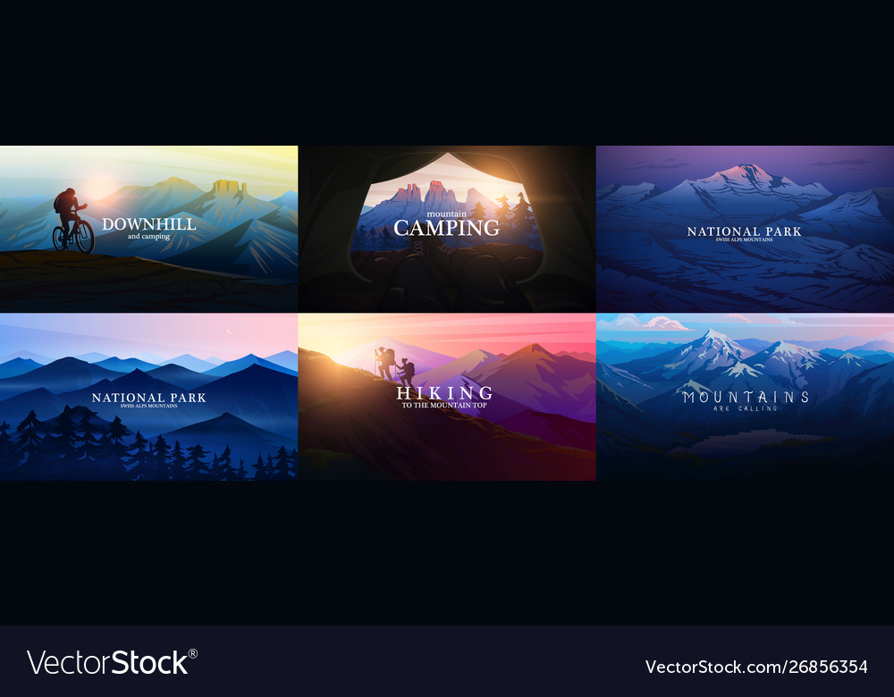 Set layered mountains for poster dark blue