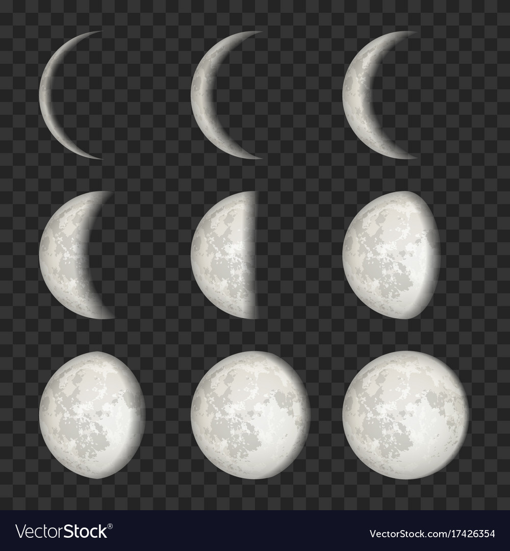 Set of moon phases on transparent