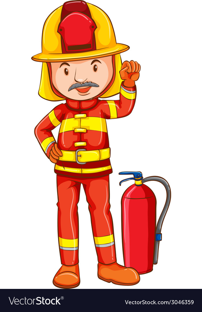 a simple drawing of a fireman royalty free vector image