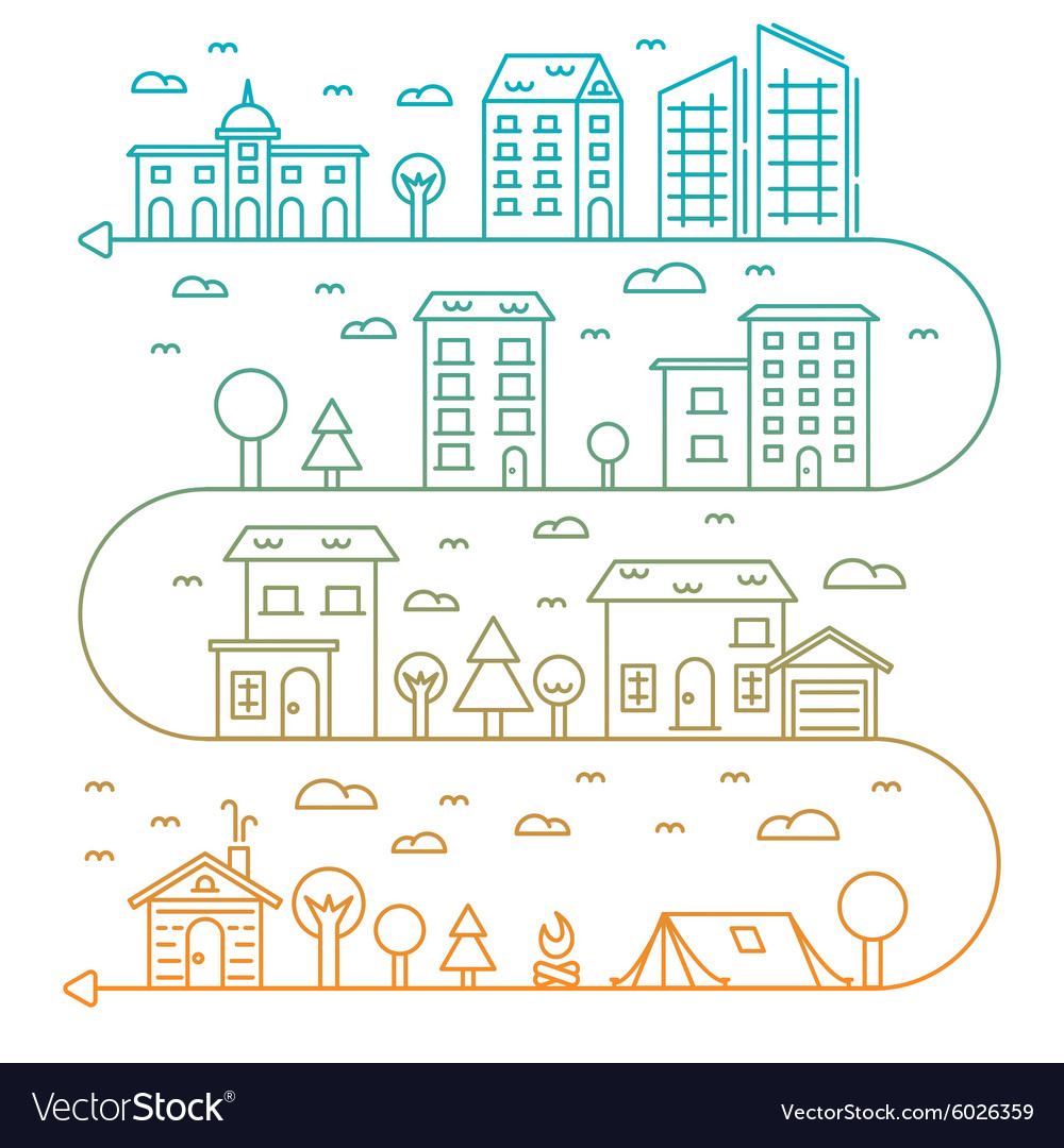 City in linear style buildings vector image