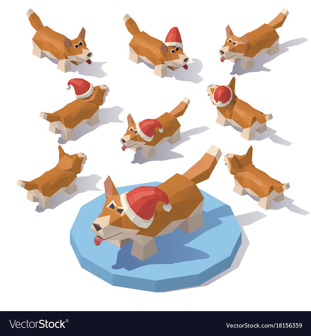 corgi in a christmas hat vector image - Christmas Corgi