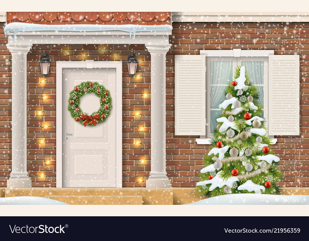 Entrance house christmas tree