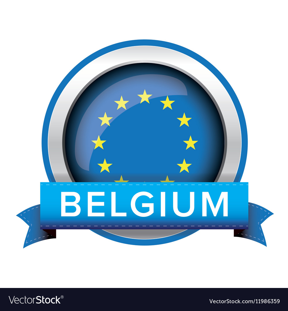 EU Flag Button With Belgium Ribbon Royalty Free Vector Image