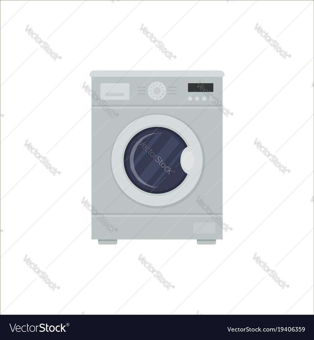 Flat washing machine isolated on white background