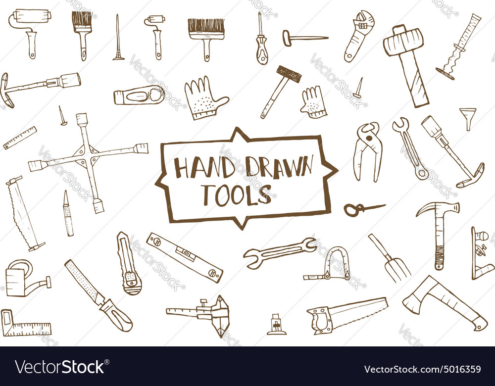 Hand drawn tool icons set vector image