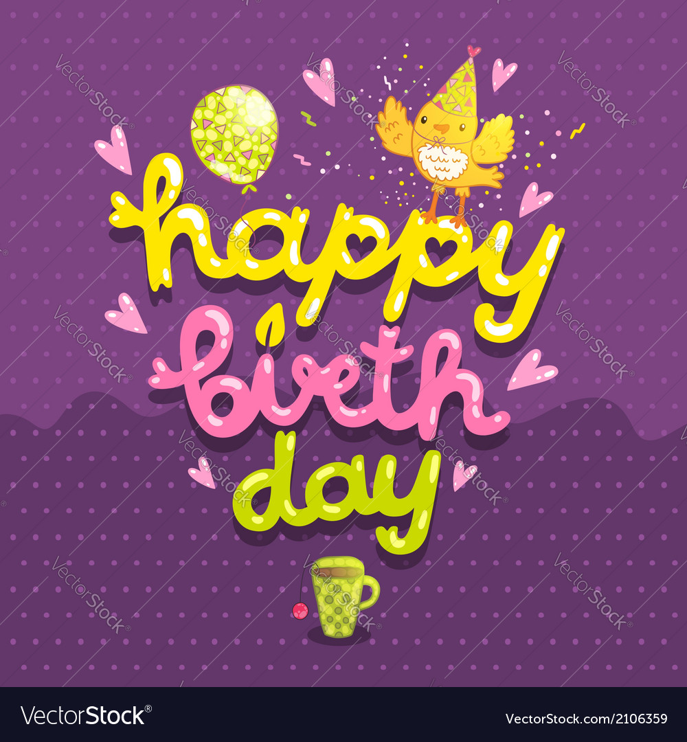 Happy Birthday postcard with tea cup and bird vector image