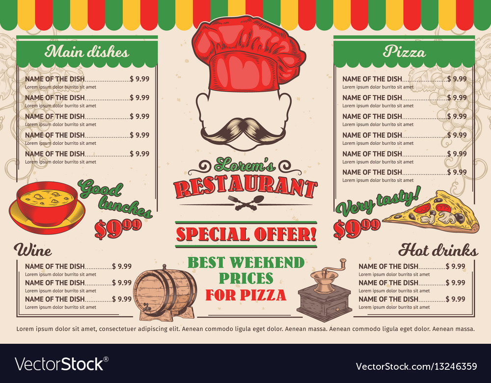 Italian restaurant menu a cafe Royalty Free Vector Image
